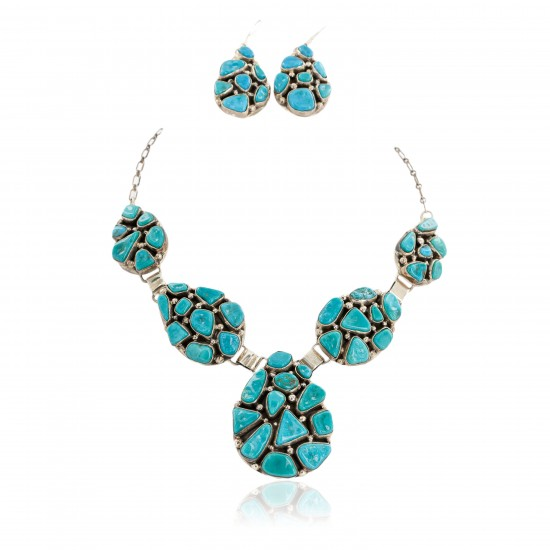 Handmade Certified Authentic Navajo .925 Sterling Silver Natural Turquoise Set Native American Necklace Earrings 15783-17903 Sets NB151120023244 15783-17903 (by LomaSiiva)