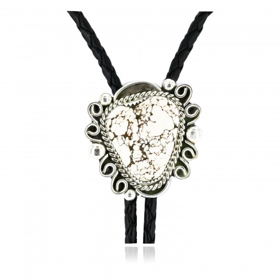 Handmade Certified Authentic Navajo .925 Sterling Silver Natural White Buffalo Native American Bolo Tie  24407-3 All Products 24407-3 24407-3 (by LomaSiiva)