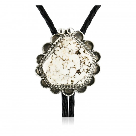 Handmade Certified Authentic Navajo .925 Sterling Silver Natural White Buffalo Native American Bolo Tie  24408-2 All Products 24408-2 24408-2 (by LomaSiiva)