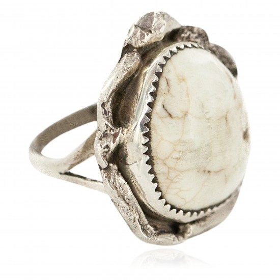 Handmade Certified Authentic Navajo .925 Sterling Silver Natural White Buffalo Native American Ring 18297-2 All Products NB160603185405 18297-2 (by LomaSiiva)