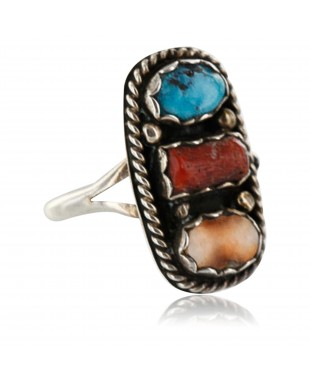 Handmade Certified Authentic Navajo .925 Sterling Silver Turquoise and Spiny Oyster Native American Ring  390751206262