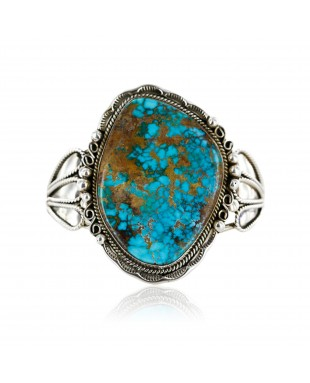 Handmade Certified Authentic Navajo .925 Sterling Silver Turquoise Native American Cuff Bracelet 12674