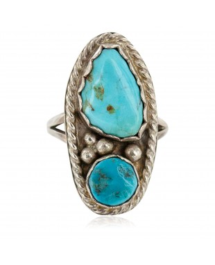 Handmade Certified Authentic Navajo .925 Sterling Silver Turquoise Native American Ring 16861