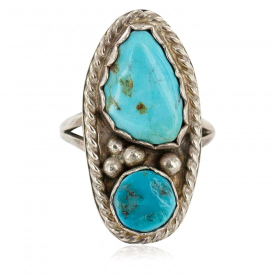 Handmade Certified Authentic Navajo .925 Sterling Silver Turquoise Native American Ring 16861 All Products NB160330233604 16861 (by LomaSiiva)
