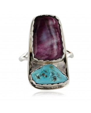 Handmade Certified Authentic Navajo .925 Sterling Silver Turquoise PURPLE SPINY Oyster Native American Ring  371059548000