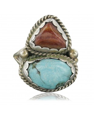 Handmade Certified Authentic Navajo .925 Sterling Silver Turquoise Spiny Oyster Native American Ring  370915313774