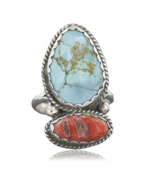 Handmade Certified Authentic Navajo .925 Sterling Silver Turquoise Spiny Oyster Native American Ring  390741450904