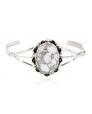 Handmade Certified Authentic Navajo .925 Sterling Silver White Howlite Native American Bracelet 18200