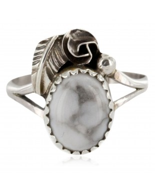 Handmade Certified Authentic Navajo .925 Sterling Silver White Howlite Turquoise Native American Ring Size 8 1/4 26204-22
