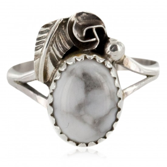 Handmade Certified Authentic Navajo .925 Sterling Silver White Howlite Turquoise Native American Ring Size 8 1/4 26204-22 All Products NB151224001549-22 26204-22 (by LomaSiiva)