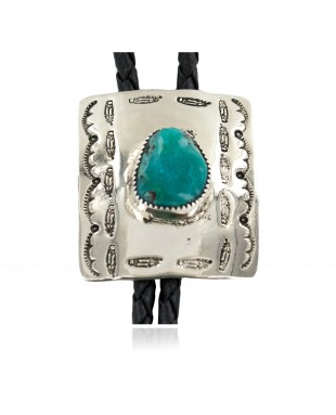 Handmade Certified Authentic Navajo Leather Nickel Natural Turquoise Native American Bolo Tie 24488-2