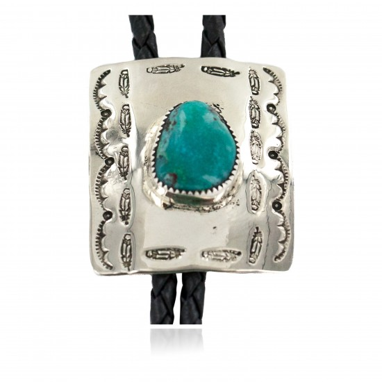 Handmade Certified Authentic Navajo Leather Nickel Natural Turquoise Native American Bolo Tie 24488-2 All Products NB160330202406 24488-2 (by LomaSiiva)