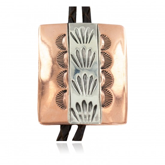 Handmade Certified Authentic Navajo Leather Pure Copper and Nickel Native American Bolo Tie 24489-5 All Products NB160330205730 24489-5 (by LomaSiiva)