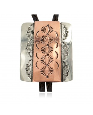 Handmade Certified Authentic Navajo Leather Pure Copper and Nickel Native American Bolo Tie 24489-7