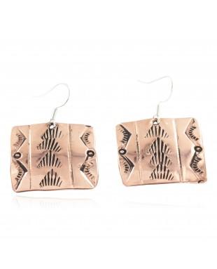Handmade Certified Authentic Navajo Mountain Pure Copper Dangle Native American Earrings 18169-1