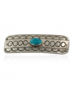 Handmade Certified Authentic Navajo Natural Turquoise Native American Nickel Hair Barrette 90001