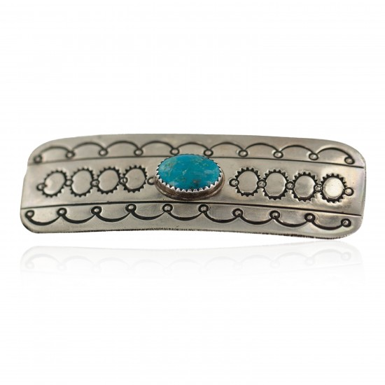 Handmade Certified Authentic Navajo Natural Turquoise Native American Nickel Hair Barrette 90001 All Products NB160228000920 90001 (by LomaSiiva)