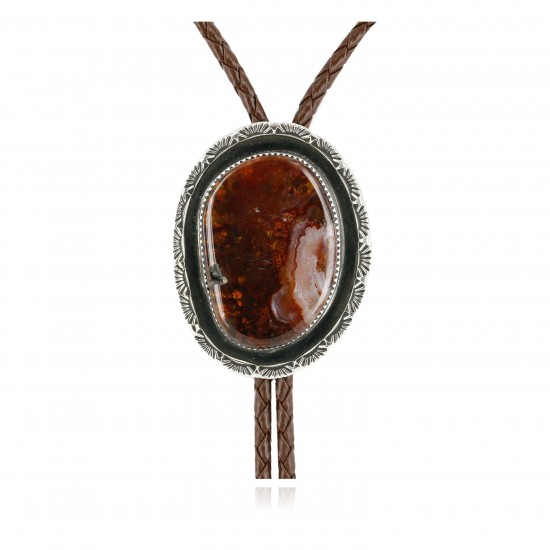 Handmade Certified Authentic Navajo Nickel Natural Agate Native American Bolo Tie 24393-4 All Products NB243934 24393-4 (by LomaSiiva)