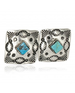 Handmade Certified Authentic Navajo Nickel Natural Turquoise Native American Cuff Links 19127