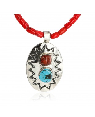 HANDMADE Certified Authentic Navajo Nickel Turquoise and CORAL Native American Necklace 371105467875