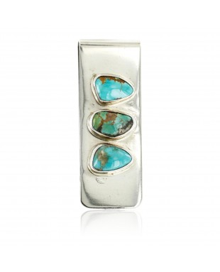 Handmade Certified Authentic Navajo Nickel Turquoise Nuggets Native American Money Clip 11244-8