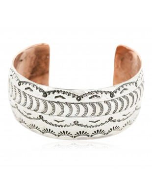 Handmade Certified Authentic Navajo Pure .925 Sterling Silver and Copper Native American Bracelet 12779-1
