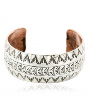 Handmade Certified Authentic Navajo Pure .925 Sterling Silver and Copper Native American Bracelet 12779