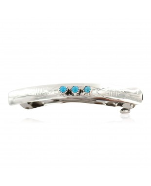 Handmade Certified Authentic Navajo Silver Natural Turquoise Native American Hair Barrette 10346-11