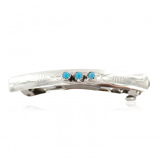 Handmade Certified Authentic Navajo Silver Natural Turquoise Native American Hair Barrette 10346-11 All Products NB160229233325 10346-11 (by LomaSiiva)