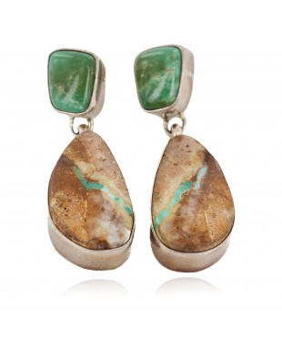 Handmade Certified Authentic Signed .925 Sterling Silver Natural Boulder Turquoise Dangle Native American Dangle Earrings 17934