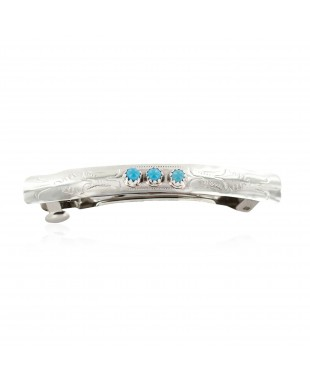 Handmade Certified Authentic Silver Navajo Natural Turquoise Native American Hair Barrette 10346-8