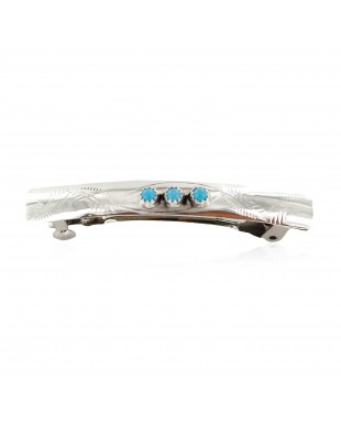 Handmade Certified Authentic Silver Navajo Natural Turquoise Native American Hair Barrette 10346-9