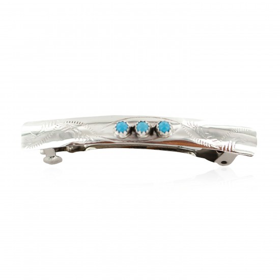 Handmade Certified Authentic Silver Navajo Natural Turquoise Native American Hair Barrette 10346-9 All Products NB160229235125 10346-9 (by LomaSiiva)