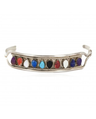 Handmade Certified Authentic Zuni .925 Sterling Silver Natural Multicolor Native American Bracelet 12666