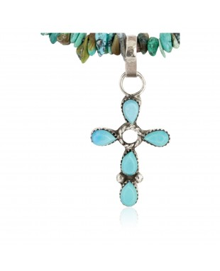 Handmade Certified Authentic Navajo .925 Sterling Silver Turquoise Native American Cross Necklace 24371-1-1601-23