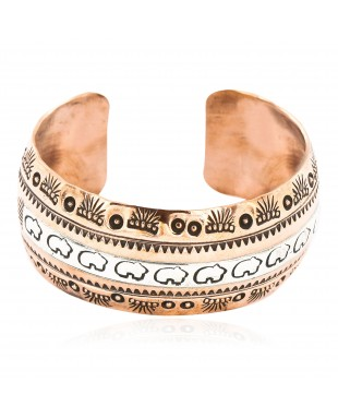 Handmade Feather Bear Certified Authentic Navajo Pure .925 Sterling Silver and Copper Native American Bracelet 12843-1