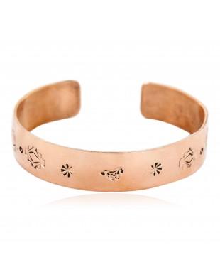 Handmade Horse Certified Authentic Navajo Pure Copper Native American Bracelet 12773-3