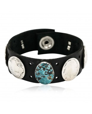 Handmade LEATHER Certified Authentic Vintage Style Buffalo Nickel Navajo .925 Sterling Silver Natural Turquoise Native American Bracelet 12834-1