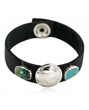 Handmade LEATHER Certified Authentic Vintage Style Buffalo Nickel Navajo .925 Sterling Silver Natural Turquoise Native American Bracelet 12836-2