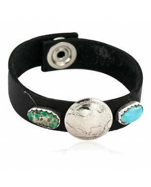Handmade LEATHER Certified Authentic Vintage Style Buffalo Nickel Navajo .925 Sterling Silver Natural Turquoise Native American Bracelet 12836-3
