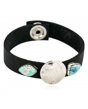 Handmade LEATHER Certified Authentic Vintage Style Buffalo Nickel Navajo .925 Sterling Silver Turquoise Native American Bracelet 12836-1