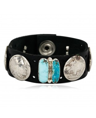 Handmade LEATHER Certified Authentic Vintage Style Buffalo Nickels Navajo .925 Sterling Silver Natural  Turquoise Native American Bracelet 12834-2