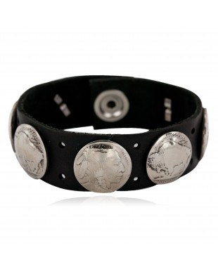 Handmade LEATHER Certified Authentic Vintage Style Buffalo Nickels Navajo Native American Bracelet 1 1288-3