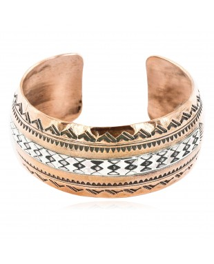 Handmade Mountain Feather Certified Authentic Navajo Pure .925 Sterling Silver and Copper Native American Bracelet 12843-6