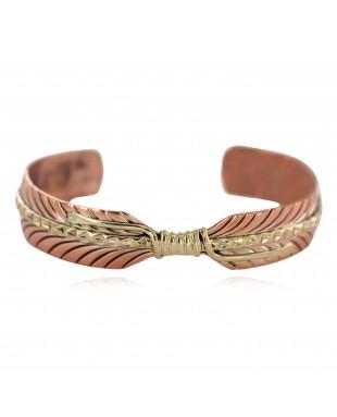 Handmade Navajo Brass Certified Authentic Native American Pure Copper Bracelet  92023-3