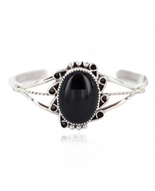 Handmade Navajo Certified Authentic .925 Sterling Silver Natural Black Onyx Native American Bracelet 18197-2