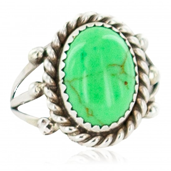 Handmade Navajo Certified Authentic .925 Sterling Silver Natural Gaspeite Native American Ring Size 9 13106-1 All Products NB160304221436 13106-1 (by LomaSiiva)