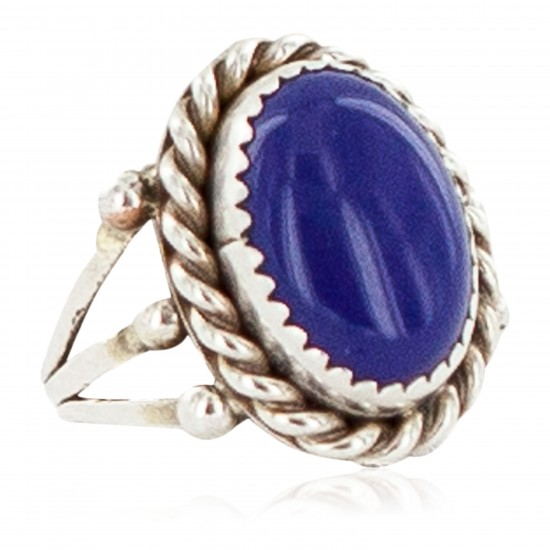 Handmade Navajo Certified Authentic .925 Sterling Silver Natural Lapis Native American Ring Size 6 13106-5 All Products NB160304230240 13106-5 (by LomaSiiva)