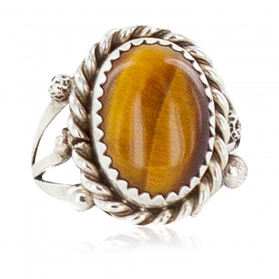 Handmade Navajo Certified Authentic .925 Sterling Silver Natural Tigers Eye Native American Ring Size 7 13106-4 All Products NB160304222130 13106-4 (by LomaSiiva)
