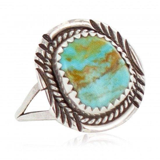 Handmade Navajo Certified Authentic .925 Sterling Silver Natural Turquoise Native American Ring Size 8 1/2 13106-3 All Products NB160304224124 13106-3 (by LomaSiiva)